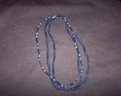 Vintage Three Strand Necklace, Dark Blue and Gold Tone