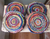 Wool Mug Rugs - Set of Four Hooked Rug Coasters