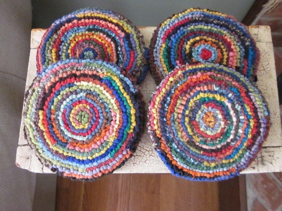 Wool Mug Rugs - Set of Four Hooked Rug Coasters