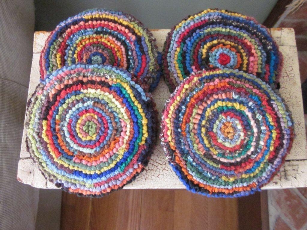 wool mug rugs set of four hooked rug coasters
