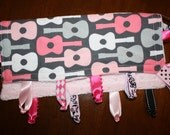 Baby Girl Knotted Ribbon Lovey in  Bloom Guitar Cotton and Light Pink Dot Minky READY TO SHIP