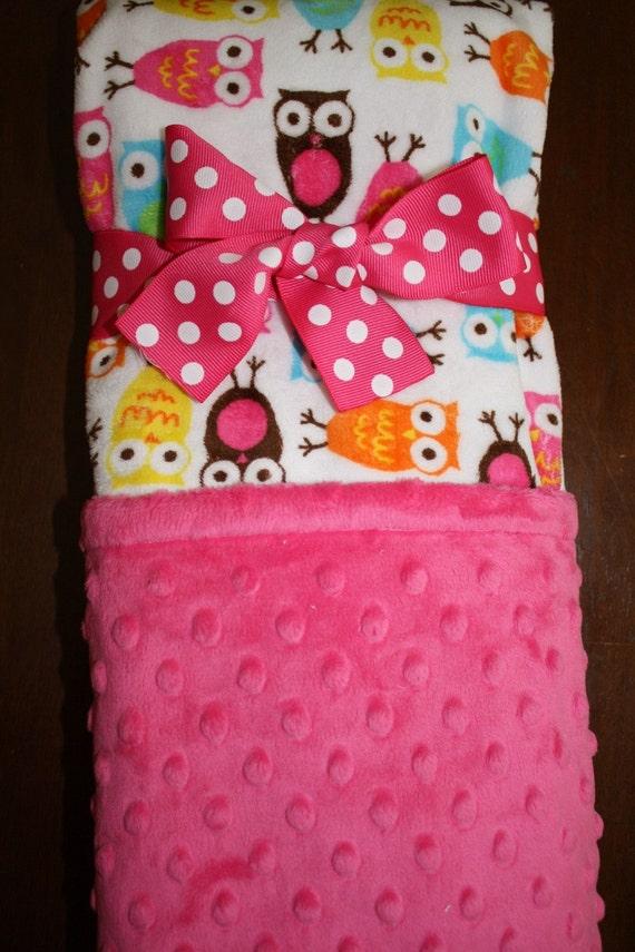 The ALYSSA, Baby Girl Night Owl and Hot Pink Fuchsia Double Minky Baby Blanket 30 x 36