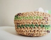 Green Striped PLARN Basket