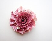 Handmade Spanish Book Rose Hair Clip- FREE shipping with two or more items