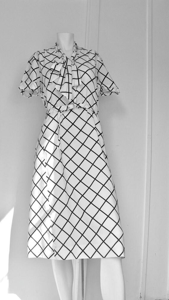 Vintage Black and White Secretary Dress Size 12