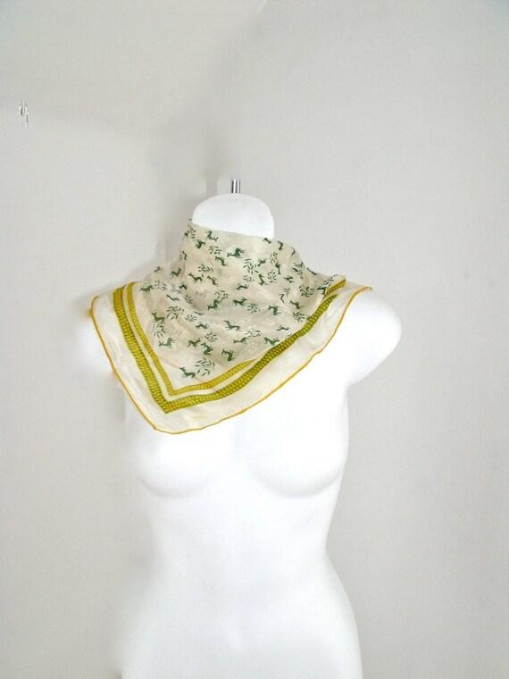 Vintage Silk 1950's Handkerchief Deer Pattern