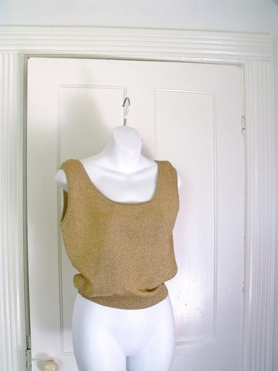 Vintage Designer Clifford and Wills Gold Knit Tank Top Size Small 1980's Metallic top