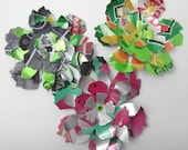 Set of 3 Layered Soda Can Flowers Upcycled Embellishments - Recycled Soda Cans - Repurposed Soda Cans - Soda Can Art