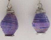 Purple Paper Bead Earrings made from an Upcycled Tampon Box