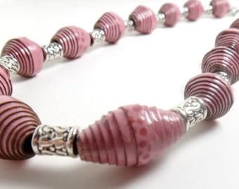 Paper Bead Necklace made from an Upcycled Tissue Box - Chunky Necklace - Pink Necklace - Recycled Jewelry - Repurposed Jewelry