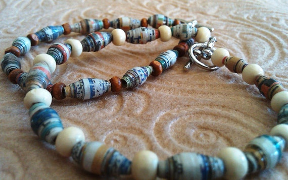 Multicolored Newspaper and Wooden Bead Bracelet