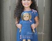 Matching Set Girls American Girl Doll Crochet Dress and headband pattern