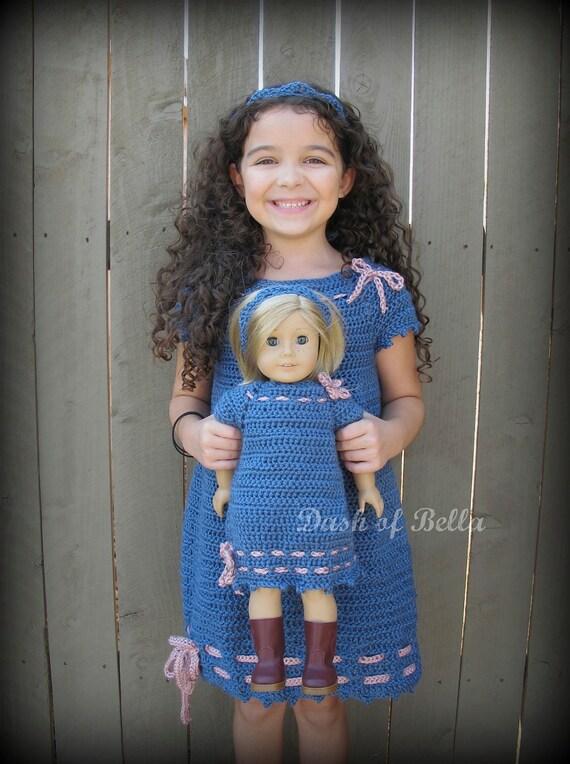 Matching Set Girls American Girl Doll Crochet Dress and headband pattern