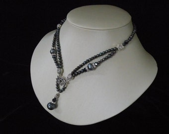 Genuine black pearl necklace accented Swarovski element and  a 11mm drop pearl