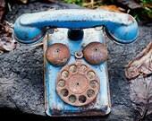Vintage Blue Children's Toy Telephone