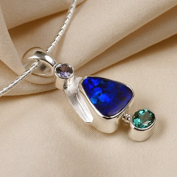 Sapphire Opal Tourmaline Pendant Necklace in Sterling Silver - Lavender Blue Green