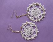 Crochet Earrings - white flower glass beads wedding earrings bridal jewelry -