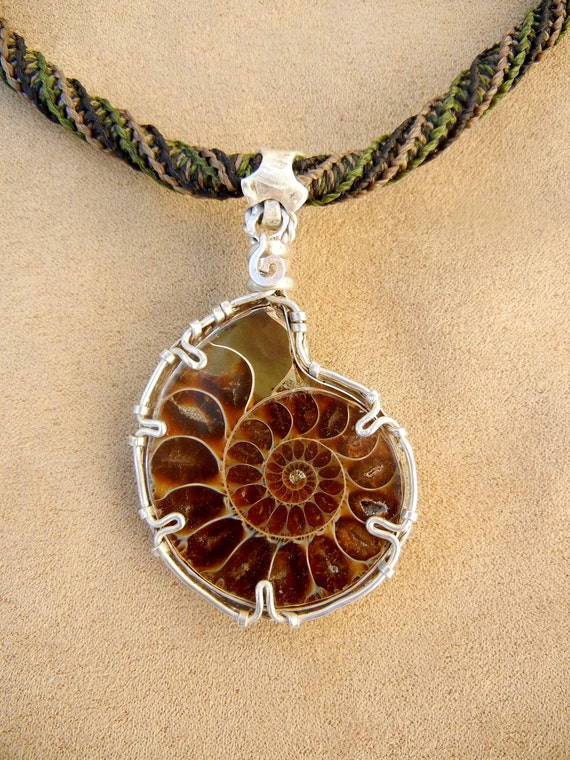 Ammonite Necklace for Men in Green and Beige Micro Macrame and Wire Wrapped Filigree Sterling Silver