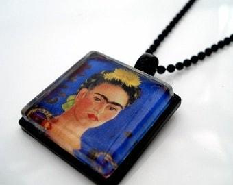 Frida Kahlo Framed Glass Tile Necklace Blue
