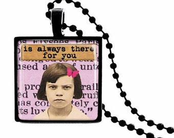 METAL FRAMED Best Friend who is Always There for You Glass Tile Necklace  FREE Chain
