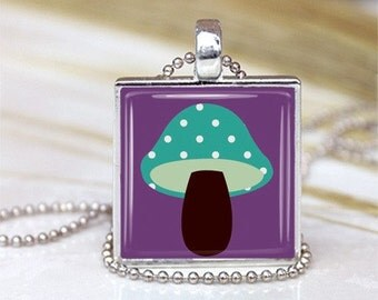 Mushroom Metal Framed Glass Tile Necklace INCLUDES Chain