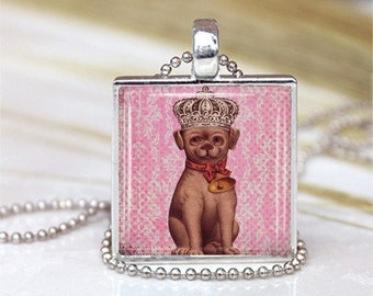 Little Puppy Prince Framed Glass Tile Necklace INCLUDES Chain