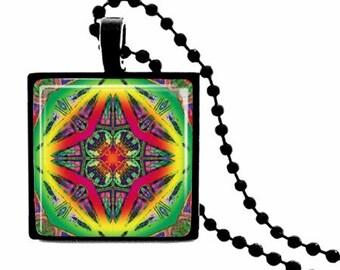 Vibrant Mandala - METAL FRAMED Glass Tile Necklace  Includes Chain