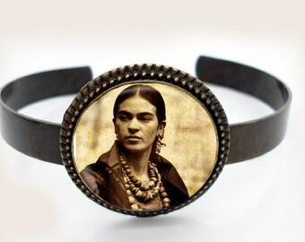 Frida Kahlo Antiqued Brass Cuff Bracelet