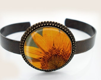 CELEBRATE SUN Fine Art Photography -  Antiqued Brass Cuff Bracelet
