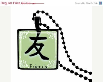 Friends Kanji  METAL FRAMED Glass Tile Necklace  Includes Chain