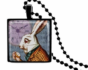 METAL FRAMED White Rabbit Glass Tile Necklace  FREE Chain
