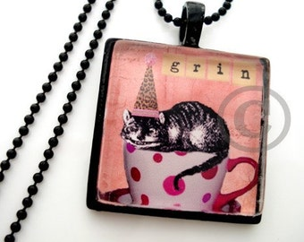 METAL FRAMED CHESHIRE Cat Glass Tile Necklace  Free Chain