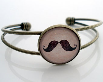 HANDLEBAR MOUSTACHE - Antique Brass Cuff Bracelet