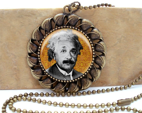 Albert Einstein Portrait - Antiqued Brass Ornate Setting Necklace with matching ballchain