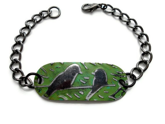 Moss Birds on a Wire plaque bracelet - Patina and Embossed by Hand VINTAJ Blank