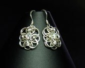 Chainmaille sterling silver earrings with swarovski crystal