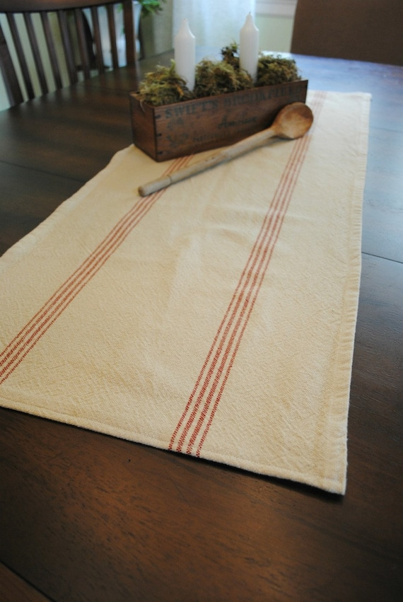 Farmhouse Table Runner Red Stripe Small By Noblevintageshop