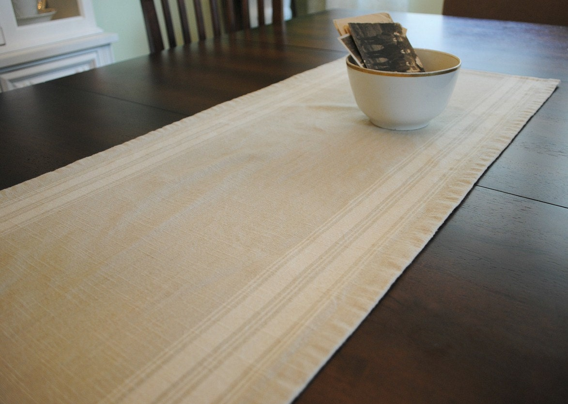 farmhouse table runner cream stripe small