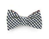 Hardy Navy Organic Gingham and Liberty Print Self Tie Mens Bow Tie