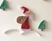 Santa Claus- CHRISTMAS GREETING funny envelope cream green holidays