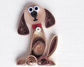 I'm Sorry quilled handmade card Dog doggy animal note card brown with envelope cute