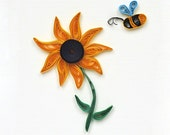 Handmade Greeting Card  - quilled paper flower funny bee-couse you are special quilling paper card
