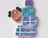Quilled Birthday card handmade greeting card presents blue funny man woman