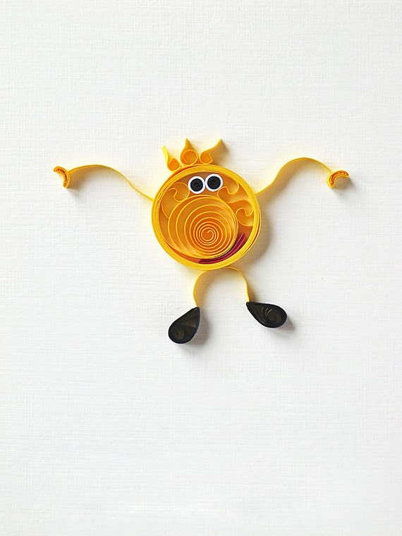 Funny Greeting card Handmade you make me smile card quilled card