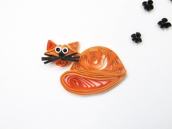 Paper quilling Have a Purrfect Day greeting card - Handmade greeting card with quilled tabby cat