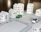 paper toy - CITY, printable toy kit, paper house, paper doll