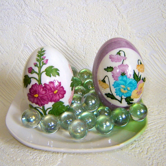 SALE. Pansies and hollyhocks. Duck eggs. Set of two eggs.