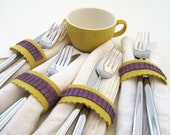 CLEARANCE Felt Napkin Rings, Purple and Yellow Wool Blend Felt with Hand Embroidery and Button Closure