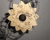 Recycled Bed Spring Wreath with Magnetic Sheet Music Flowers