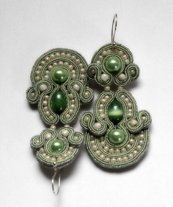 cool mint-  soutache earrings  free shipping